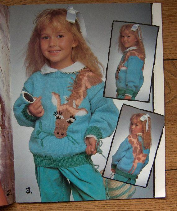 vintage 80s knitting patterns patons 520 children sweaters safari ...