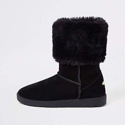 322e696854ef7 River Island Black faux fur lined boots