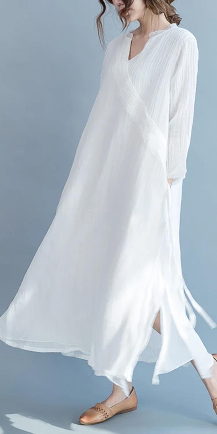 2017 Flowy Fine White Linen Maxi Dresses Summer Caual Silk Dress Traveling Gown Summer Maxi Dress Linen Maxi Dress Summer Linen Loose Dress [ 1400 x 700 Pixel ]