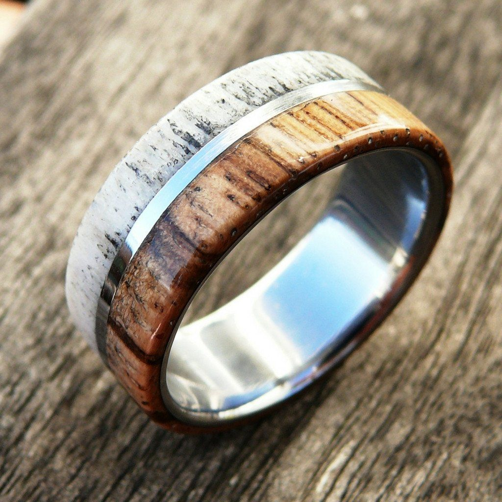 Elk Antler Ring Deer Antler And Wood Ring Elk Antler Ring With A Wooden Stripe
