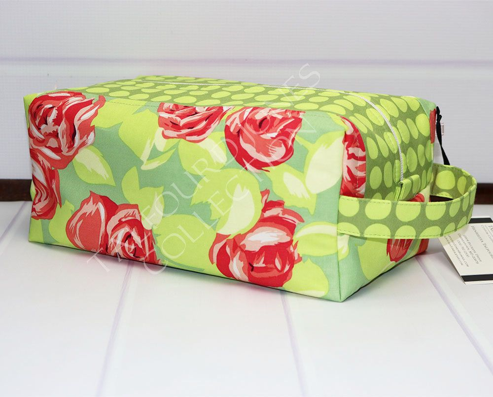 fd22b45dfb Floral Box Pouch - Large Toilet Bag - Womens Toiletry Bag - Cabbage Rose -  Makeup Storage Box - Knitting Project Bag - Amy Butler Love