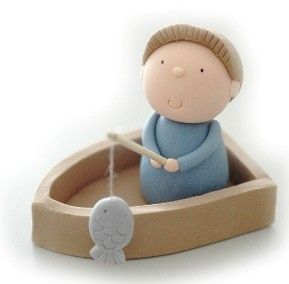3D Fondant Fisherman Cake Topper Tutorial. $5,00, via Etsy.
