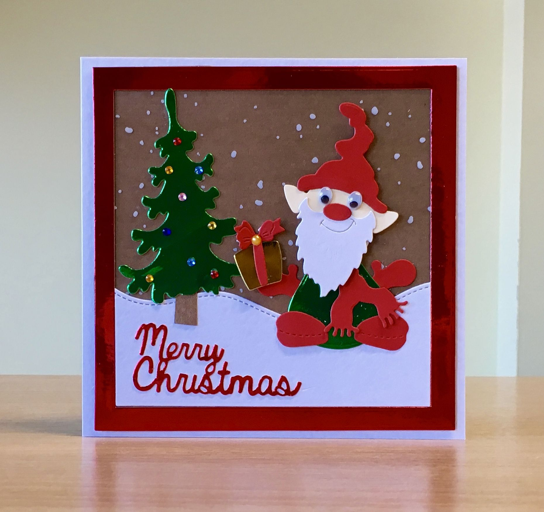 Christmas Card Handmade Unbranded Gnome Elf Die For More Of My Cards Please Visit Craftycardstudio O Handmade Craft Cards Cards Handmade Christmas Cards