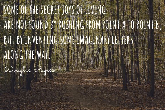 """""""Some of the secret joys of living are not found by rushing from point A to point B, but by inventing some imaginary letters along the way."""" -Douglas Pagels"""