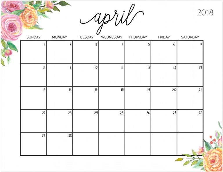 April 2018 Planning Calendar Template Kdrama Pinterest