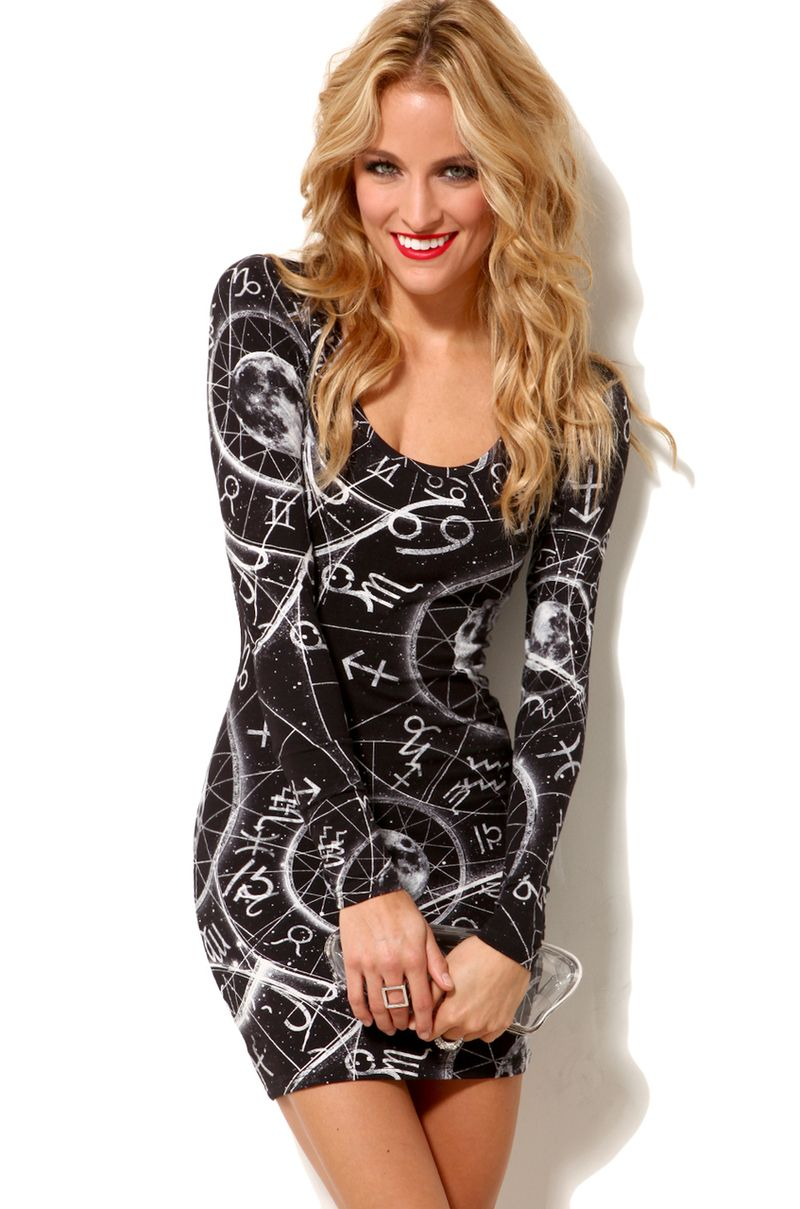 Womenus black zodiac dress astrology pinterest zodiac sleeved