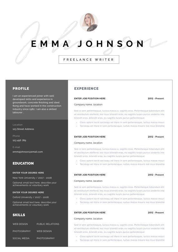 Resume Template Resume Cv Template Cv Design Curriculum Etsy Modern Resume Template Resume Template Word Resume Template Professional