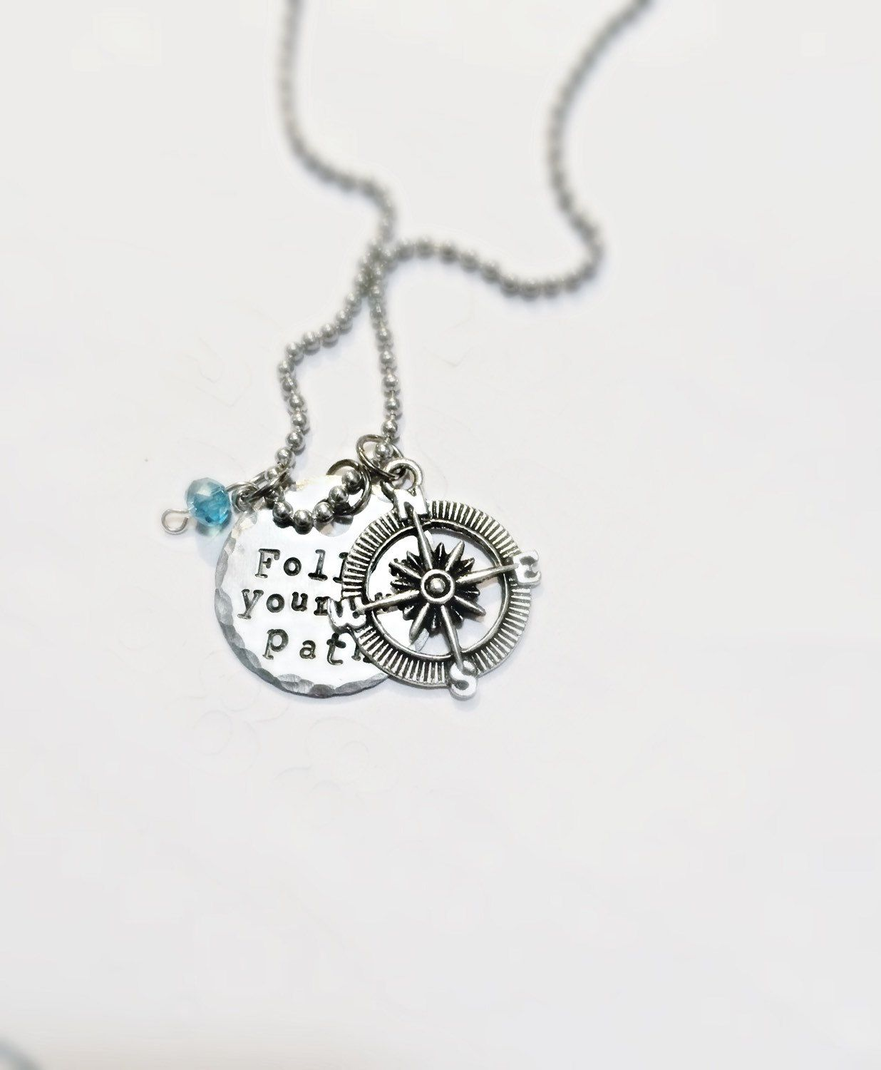 SaLe FREE colored stones add on option! Graduation gift Follow Your Own Path Compass Personalized Necklace~ by TinyTrinketShop on Etsy