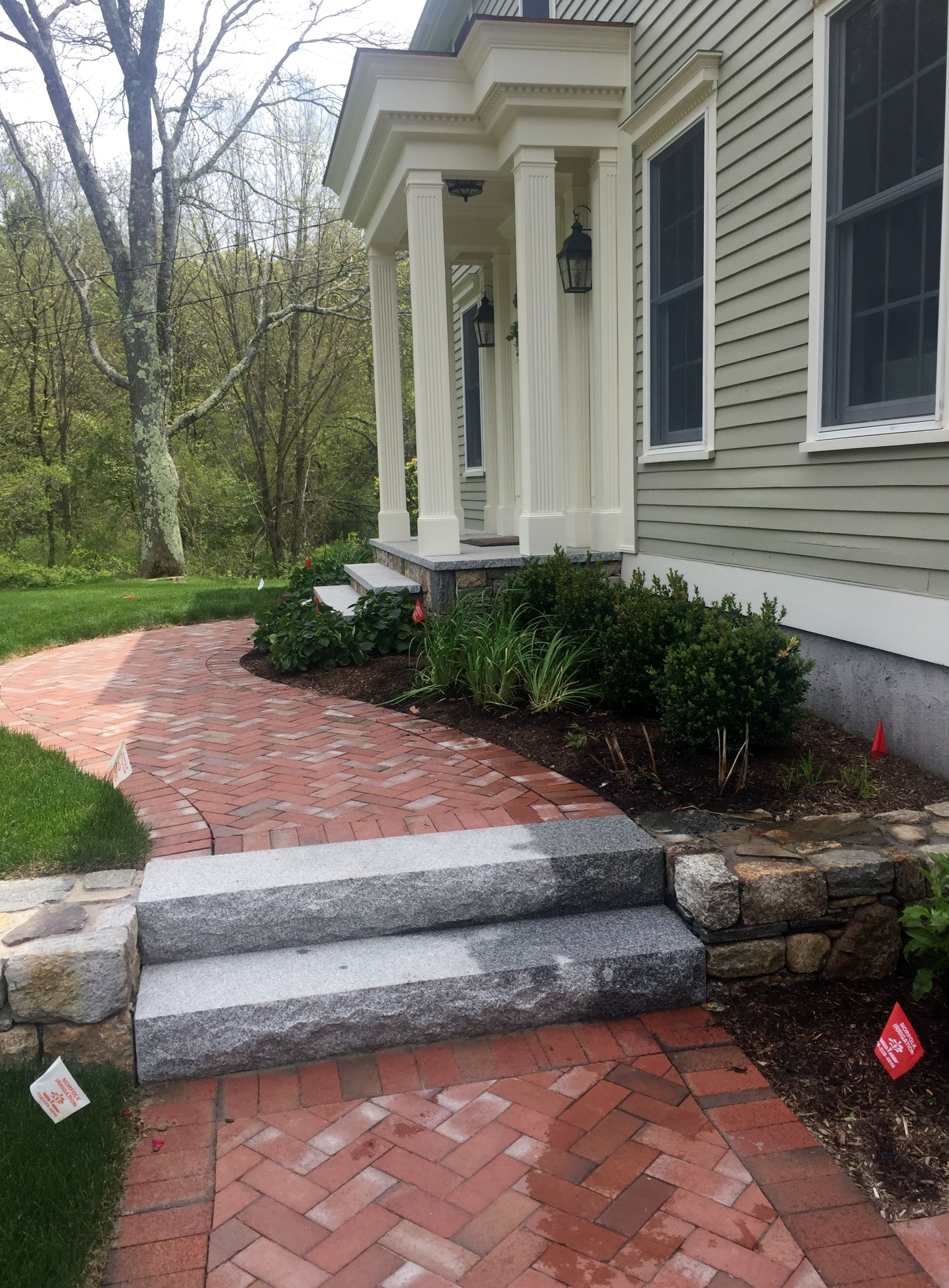 Oakwood Landscape Construction Inc Brick Herringbone Walkway Granite Steps Fieldstone Wall Home Landscaping Easy Landscaping Hardscape