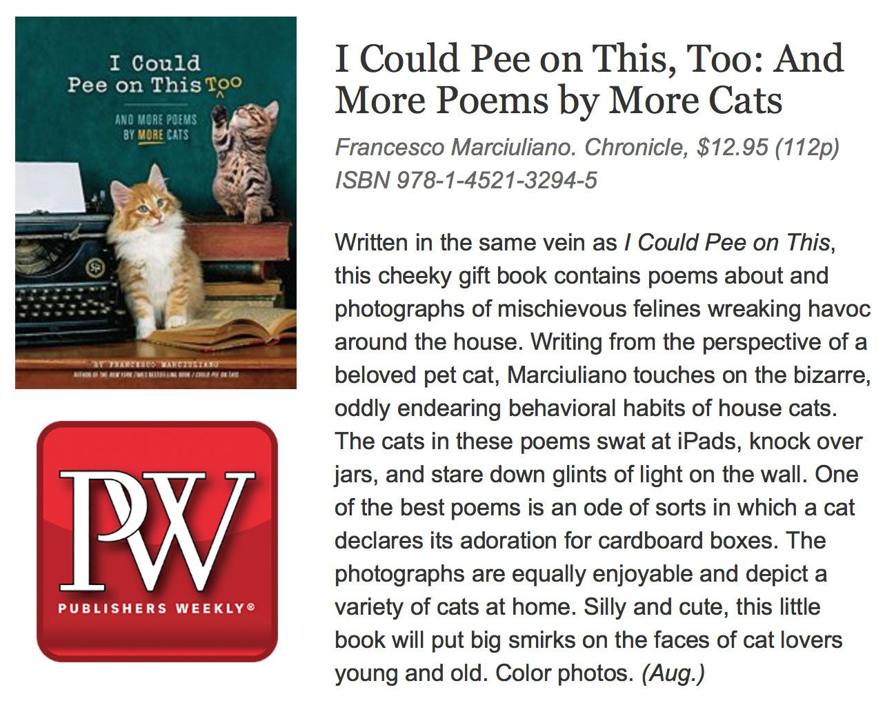 I Could Pee on This, Too: Publishers Weekly Review