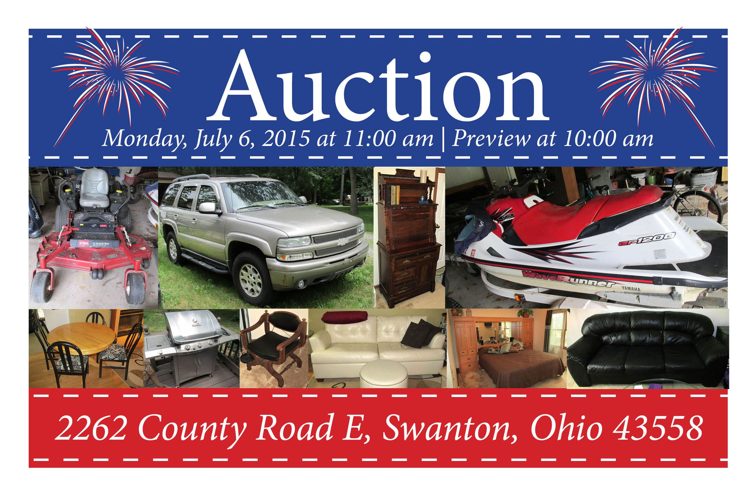 Live On-Site Auction in Swanton! Monday, July 6, 2015 at 11:00 am Preview & Registration Open at 10:00 am 2262 County Road E, Swanton, Ohio 43558  View More Info at www.pamelaroseauction.com or call (419) 865-1224  Pamela Rose Auction Co. LLC #pamelaroseauction