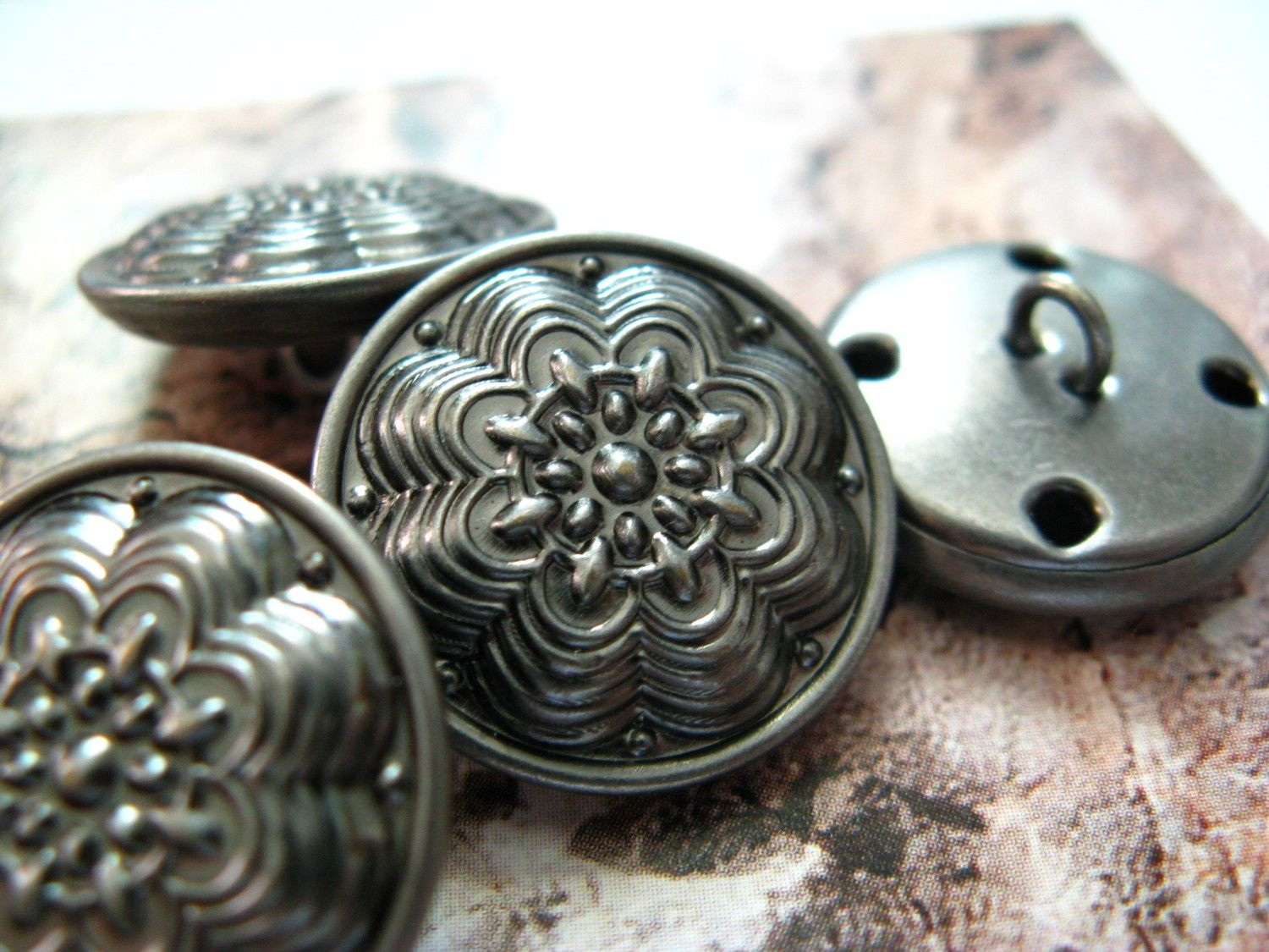 Layered Flower Metal Buttons , Nickel Silver Color , Shank , 0.79 inch , 10 pcs by Lyanwood, $6.00