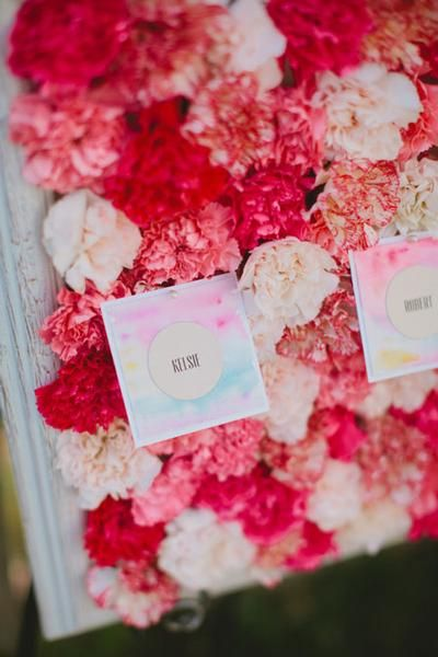 DIY Carnation Escort Card Display photography by Marvelous Things