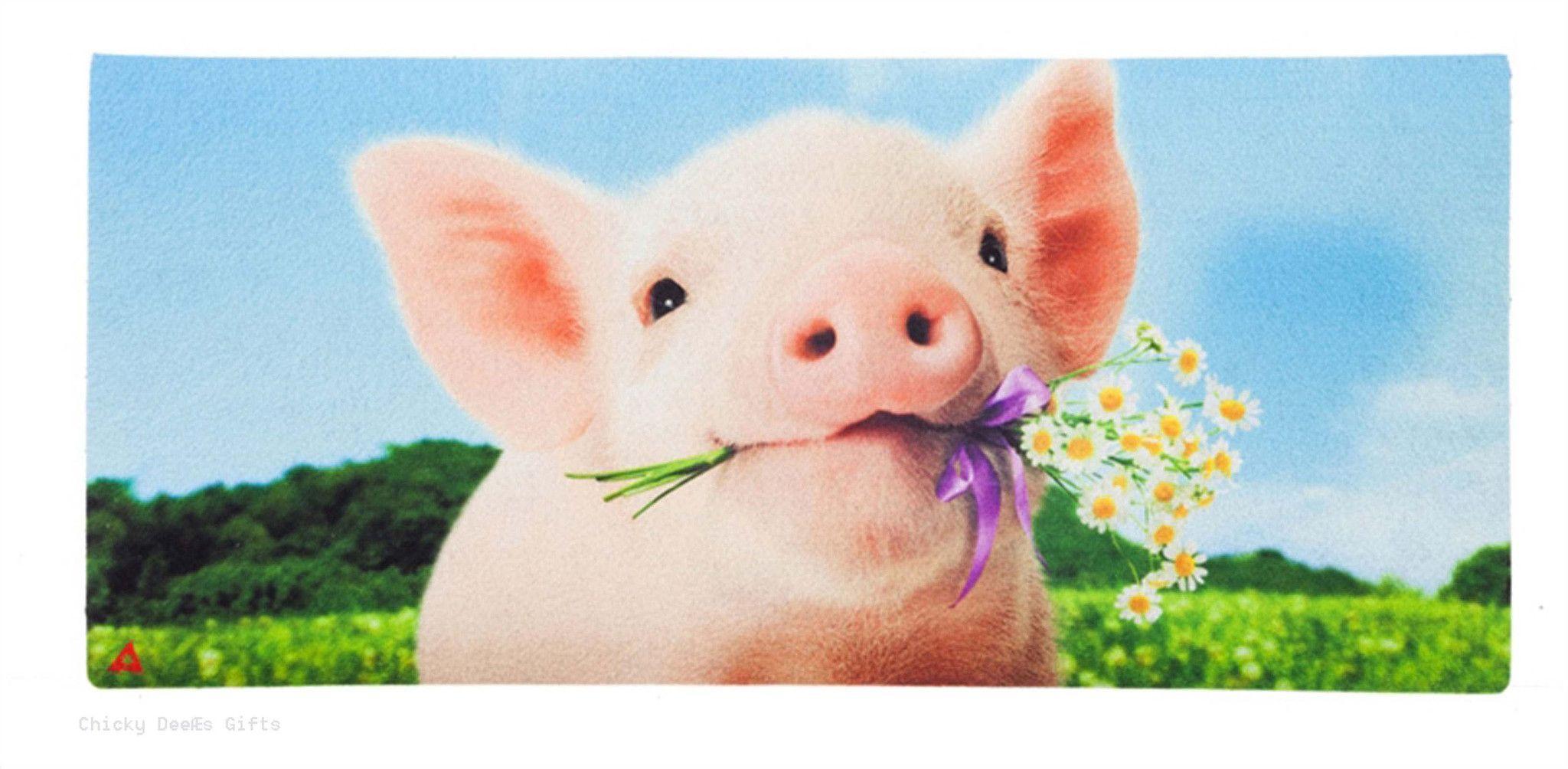 Evergreen Sassafras Switch Mat Garden Pig Holding Flowers