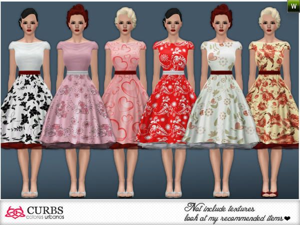 Curbs rockabilly 16 dress by Colores Urbanos for Sims 3. Curbs rockabilly 16 dress by Colores Urbanos for Sims 3   Sims