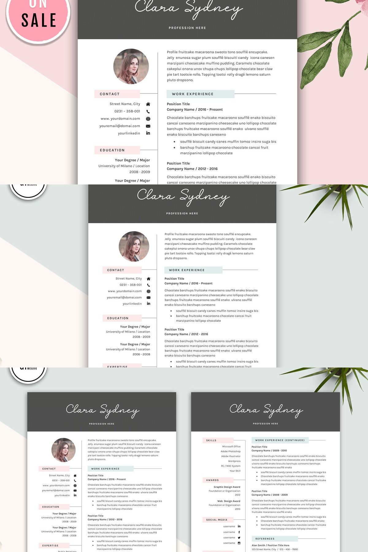 Creative Resume Template for Microsoft Word CLARA SYDNEY
