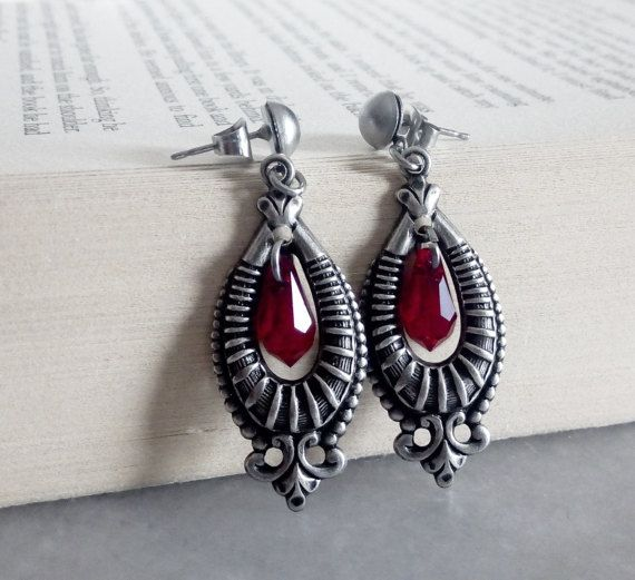 Victorian Gothic Earrings Swarovski Crystal Gothic Earrings Red ... 1cd1a54d24f