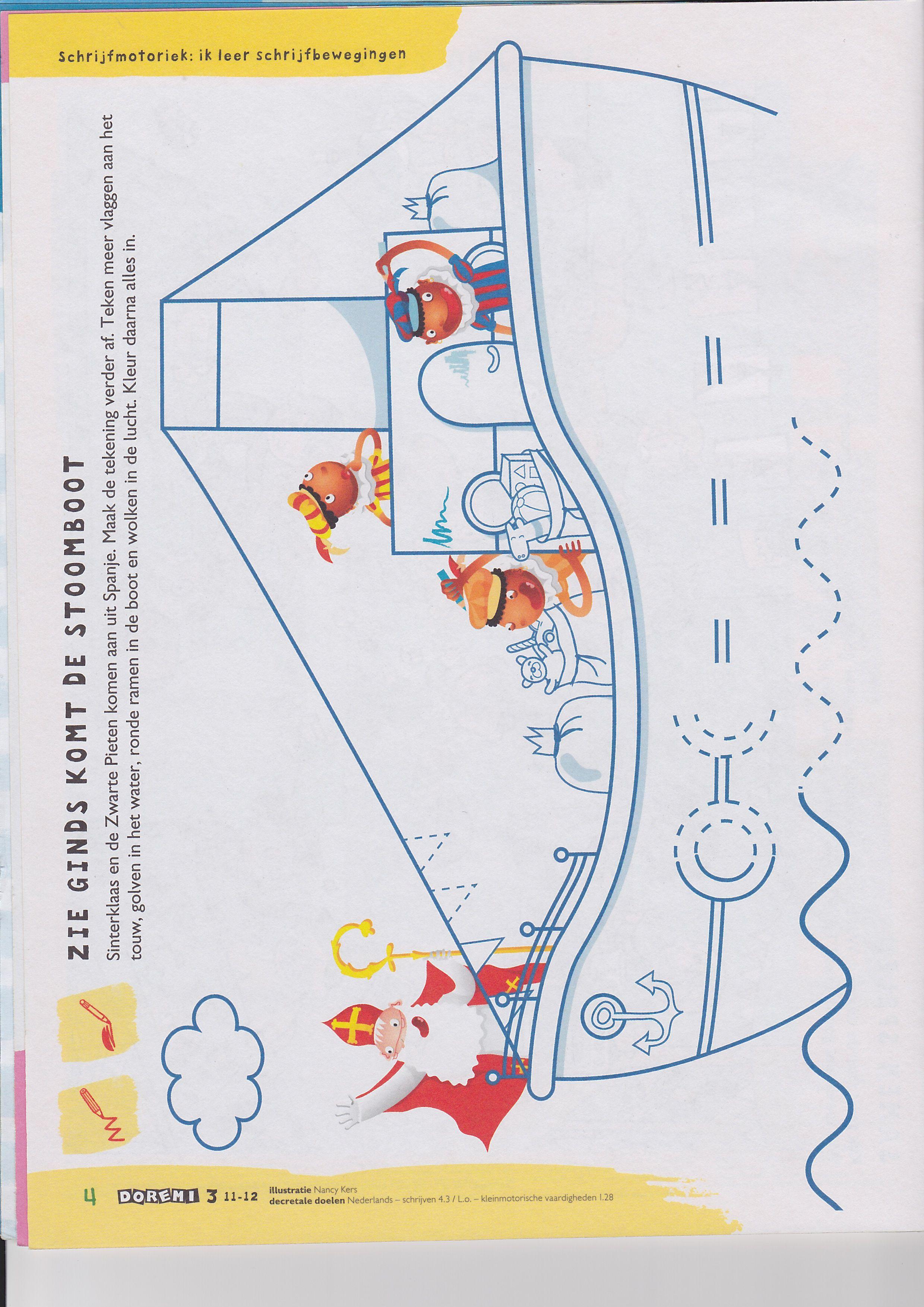 Stoomboot Schrijfmotoriek Sinterklaas Knutselen Sinterklaas Thema
