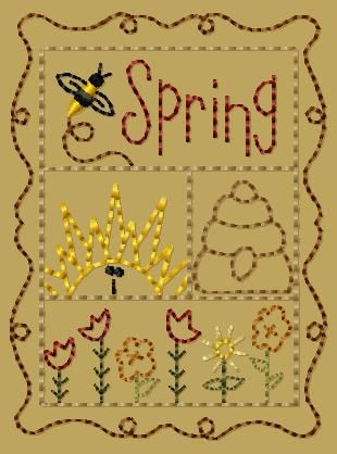PK151 Spring Sampler Version 2 - 4x4: Primitive Keepers, Prim Machine Embroidery Designs