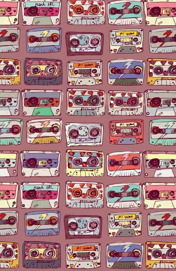 Retro Vintage Wallpaper Iphone : retro, vintage, wallpaper, iphone, Casettes, Iphone, Wallpaper, Vintage,, Vintage, Retro,, Pattern
