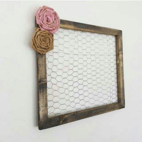 @gingerblondeboutique is behind this creative idea of displaying your favorite photos on their handmade chicken wire frames.  This frame is handmade, stained, painted, distressed and sealed for durability and adorned with handmade burlap rosettes.  Such a cute idea for everyday decor in your home or a special event like a wedding or baby shower.  GINGERBLONDEBOUTIQUE.ETSY.COM