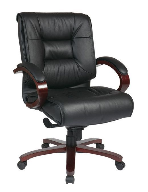 Office Star 8501 Deluxe Mid Back Black Executive Leather Chair