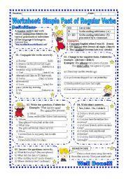 English worksheet: Worksheet: Simple past of Regular Verbs