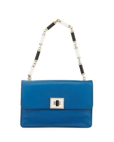 VALENTINO LEATHER CRYSTAL-LOCK SHOULDER BAG, BLUE. #valentino #bags #shoulder bags #leather #crystal #