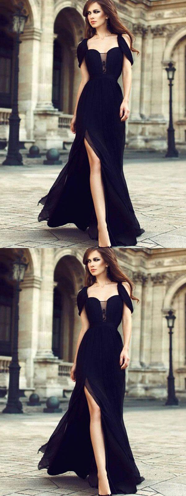 chic black prom dress modest cheap long prom dress vb