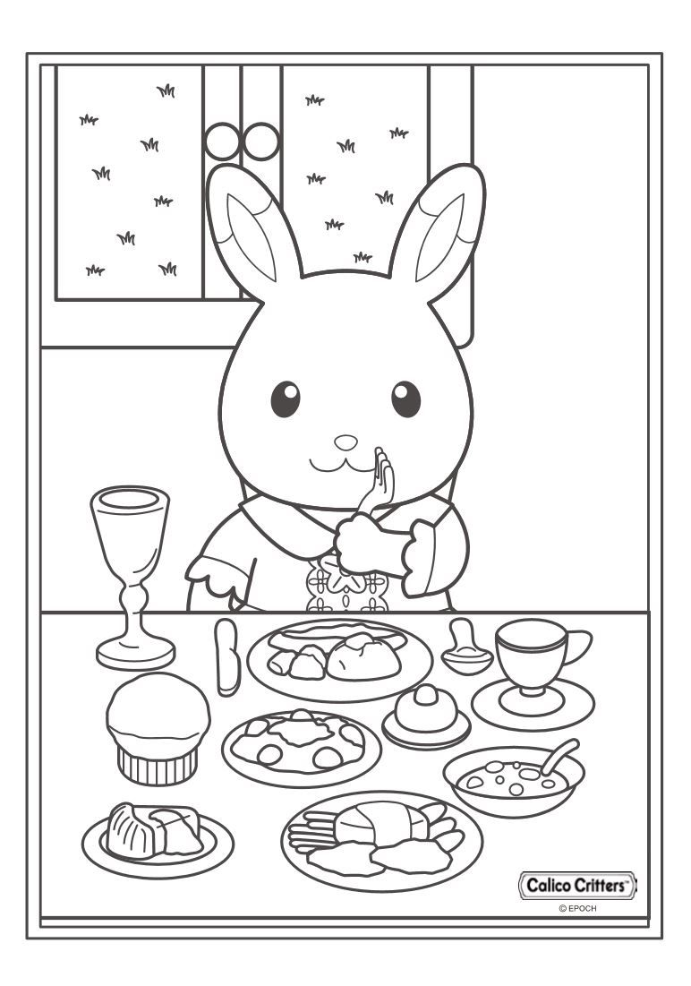 17 coloring pages of Calico Critters on Kids-n-Fun.co.uk