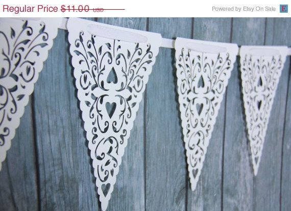 ON SALE - White Paper Lace Triangle Banner Pennant Garland Bunting Photo Prop Love Family Party reusable banner
