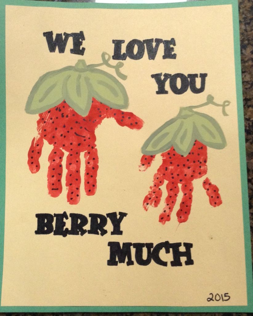 Strawberry handprints... I love you berry much print. Cute little hands of my girls.