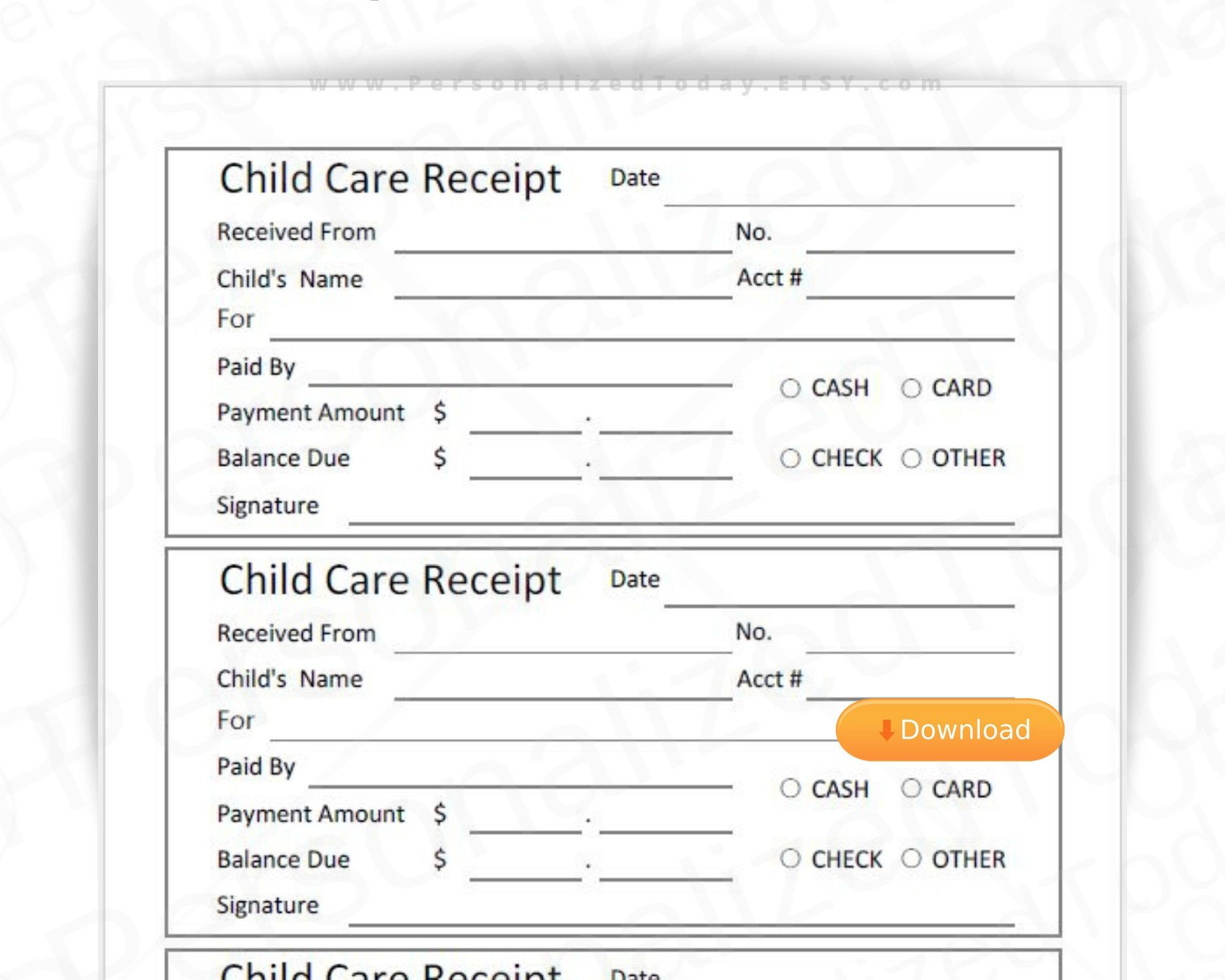 Printable Child Care Receipts Fillable And Print And Write Pdf Etsy Printing Business Business Printables Lettering