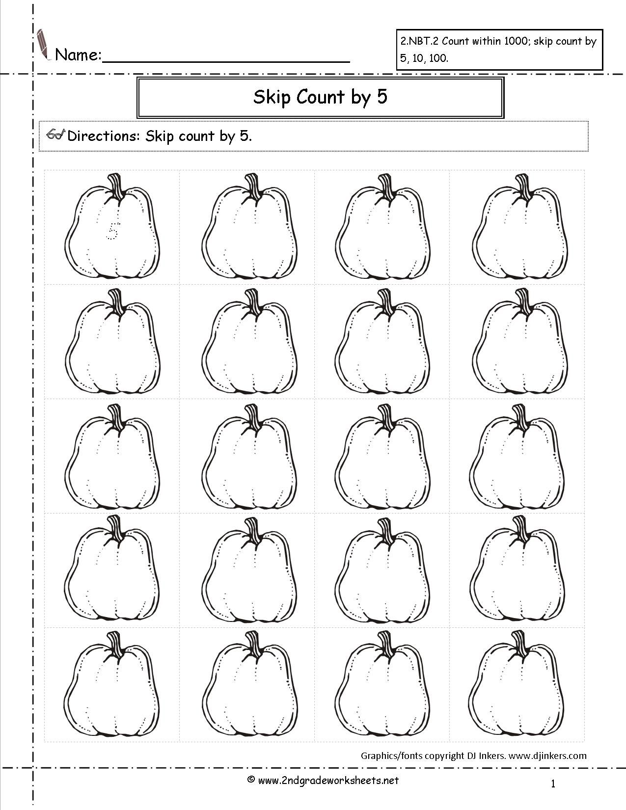 Pumpkin Count By 5 To Worksheet