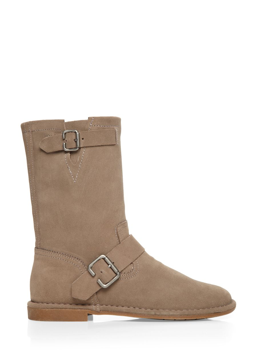Knox Boot; Round toe; Strap detail across vamp with buckle