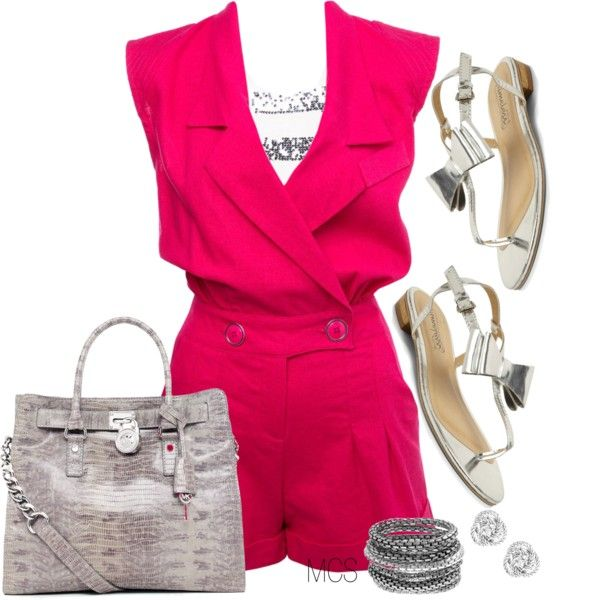 Pink Multi Stitch Playsuit, created by mclaires on Polyvore