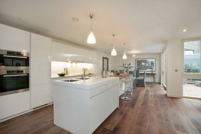 Download Wallpaper White Kitchen Wood Floor Ideas