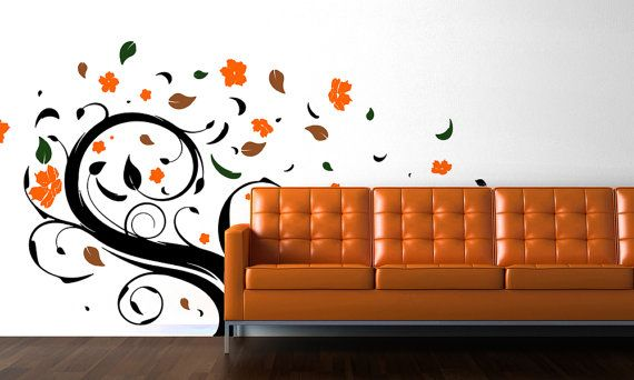 Abstract windy autumn tree vinyl wall decal by misslindasdecals, $40.00