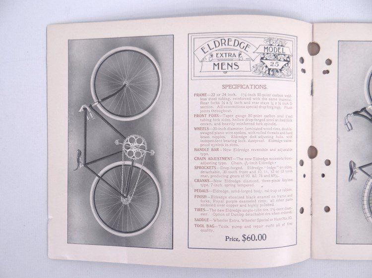 Bicycle catalog lot including 1899 and 1903 Eldredge and 1897 Chas Sieg. Fair condition. Pedaling History Museum.