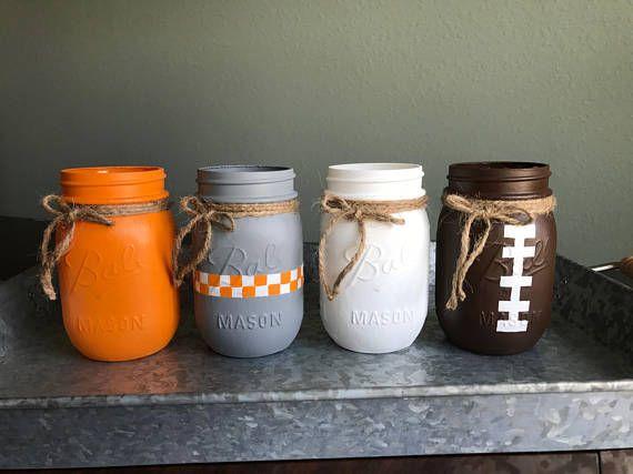 Tennessee Mason Jars Tennessee Vols Mason Jars Mason Jars Etsy Mason Jars Tennessee Crafts Jar