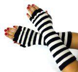 Amazon.com: Guantes Negro Striped Knit Fingerless, Las edades de 3 y Adultos (rosas fuertes y Negro): Todo Lo demás La