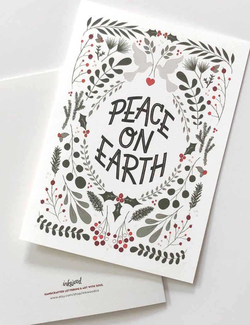 Peace On Earth Cards Botanical Christmas Cards Etsy Holiday Greeting Card Design Holiday Card Set Christmas Cards Etsy