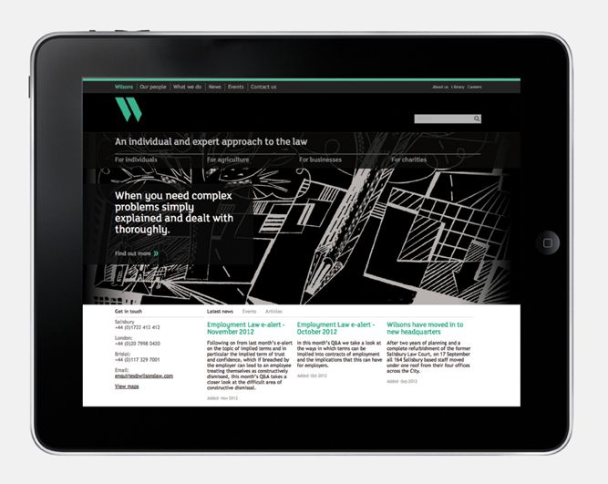 Responsive website design by MyttonWilliams for legal advice firm Wilsons.