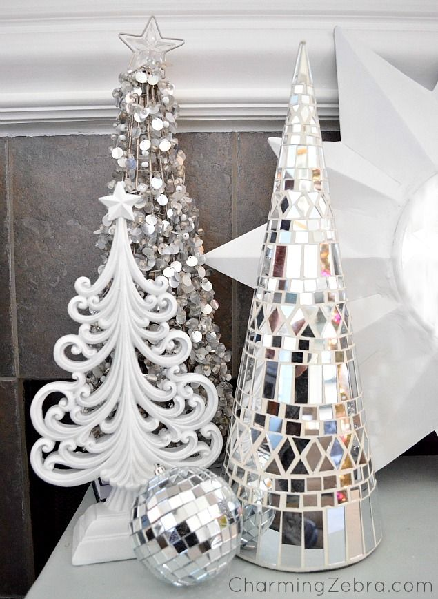 Silver, White and Bling Christmas decor