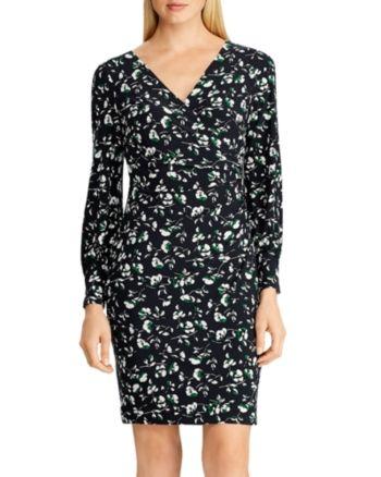 Lauren Ralph Lauren Blumenkleid aus gerafftem Jersey – Navy / Grün