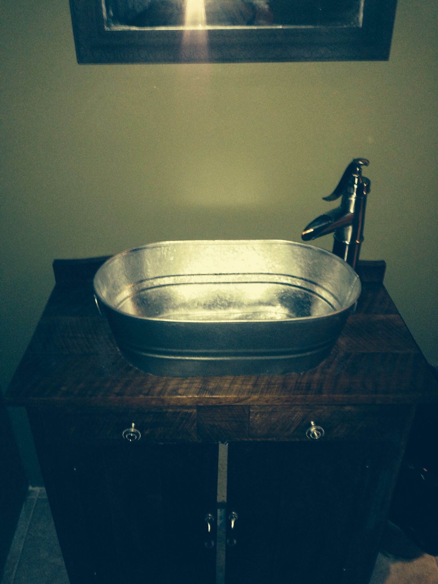 Metal Wash Bin Diy Old Dry Sink With A Galvanized Washtub As The Sink And Well