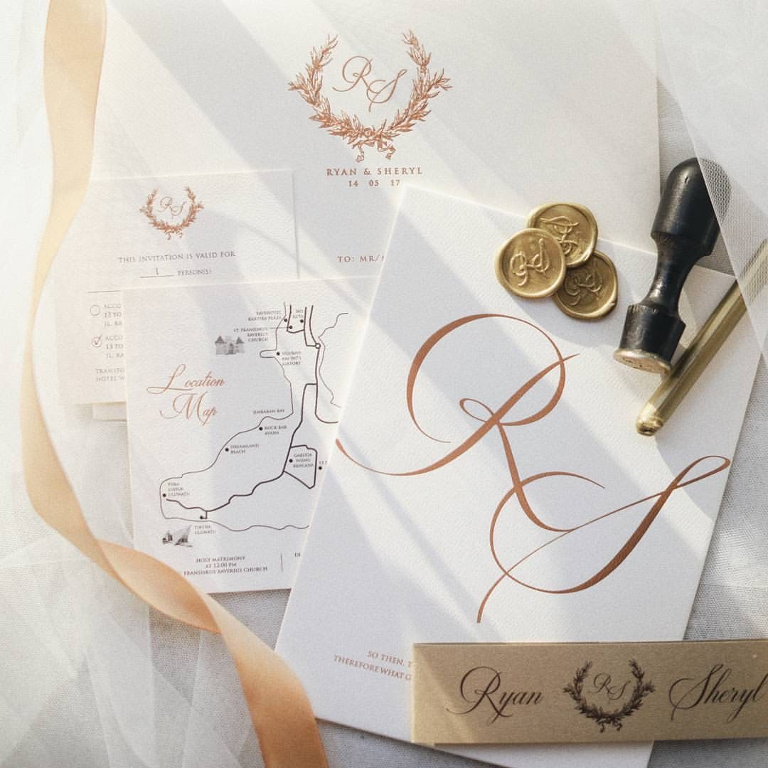 Rosegold meets ivory on textured paper with gold color wax seal ...