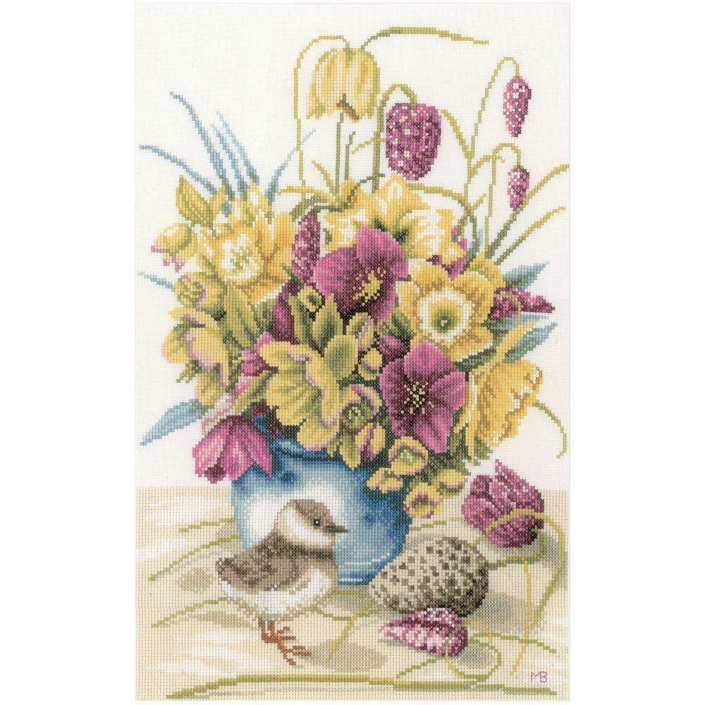Fleurs et vanneau 0169671 lanarte cross stitch counted