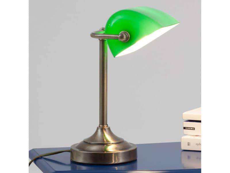 Lampe De Bureau Metal Et Verre Vert Banker Lucide Z43741291 Lampe De Bureau Bureau Metal Lampe