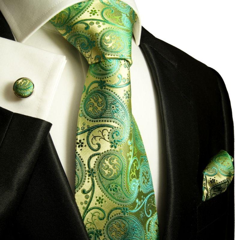 Grün gold paisley Krawatten Set 3tlg 100% Seidenkrawatte 817